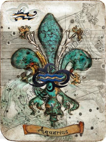 Aquarius Zodiac Fleur de Lis Art by Candice Alexander Louisiana Artist