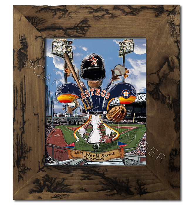Astros World Series Art designed by Candice Alexander, Fleur De Lis Artist framed in an electrocuted brown frame