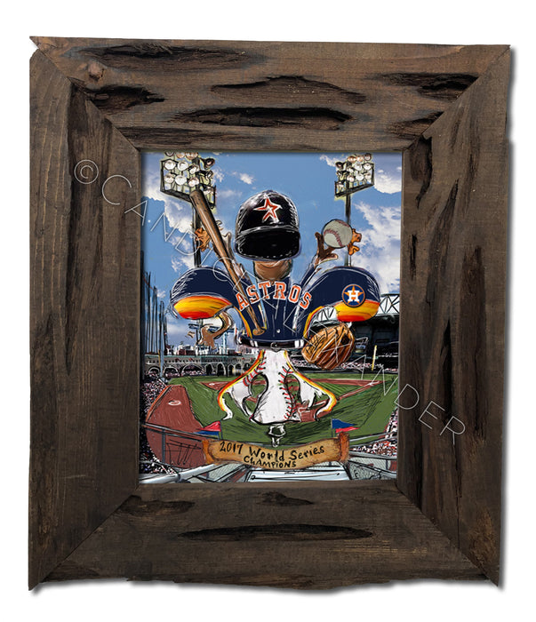 Astros World Series Art designed by Candice Alexander, Fleur De Lis Artist Framed in a Louisiana Cypress Frame
