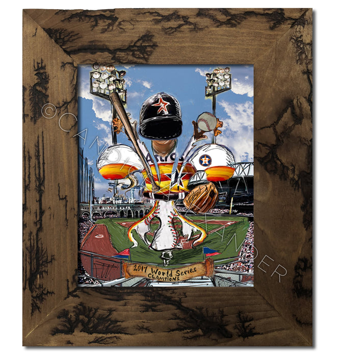 Astros Art designed by Candice Alexander, Fleur De Lis Artist, Framed in an electrocuted frame