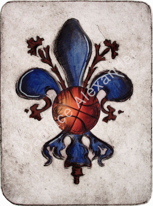 Basketball Maroon and Navy Fleur De Lis Candice Alexander Fleur de Lis Art by Candice Alexander Louisiana Artist