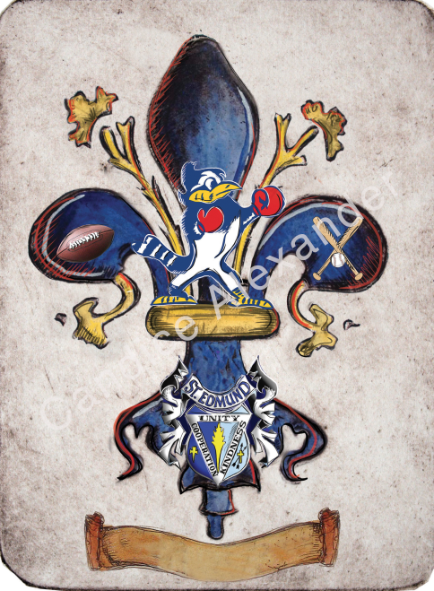 St Edmund Catholic School Blue Jay Fleur De Lis art by Candice Alexander, Louisiana Artist