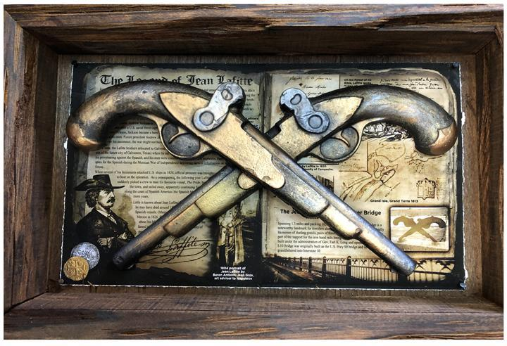 Copper, Gold, Bronze Jean Lafitte i10 bridge pistols by Candice Alexander