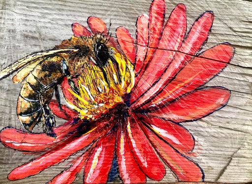 Honey bee painting on flower on wood by Candice Alexander Fleur de Lis and Louisiana artist