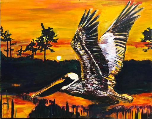 Pelican art Louisiana on bayou by Candice Alexander fleur de lis artist