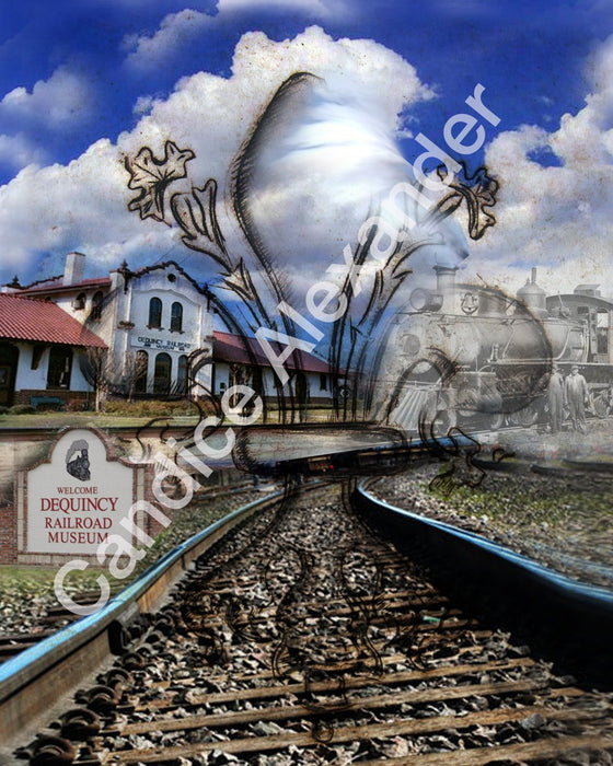 DeQuincy railroad Fleur De Lis art by Candice Alexander, Louisiana Artist
