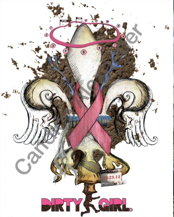 breast cancer Fleur De Lis art by Candice Alexander, Louisiana Artist