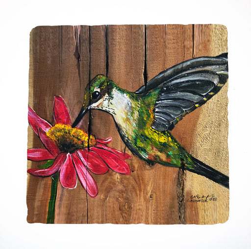 Hummingbird acrylic painting art by Louisiana artist candice Alexander