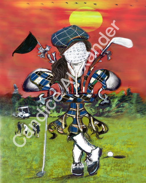 golfer girl Fleur De Lis art by Candice Alexander, Louisiana Artist