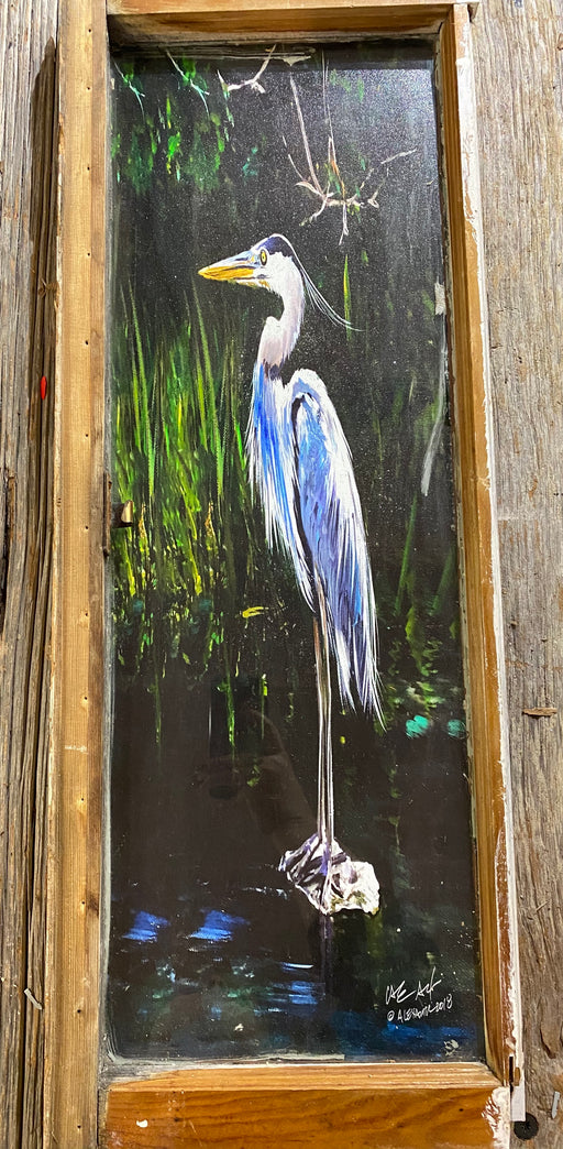 Gros Bec, Bird, Louisiana, Window Frames, Art, Candice Alexander Art, design, Heron,  Vintage, SWLA, Louisiana Strong, Wildlife, Calcasieu Parish