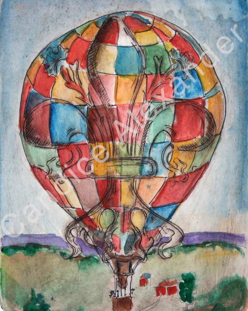 Hot air balloon Fleur de Lis design by Candice Alexander, Fleur De Lis Artist Fleur De Lis art by Candice Alexander, Louisiana Artist