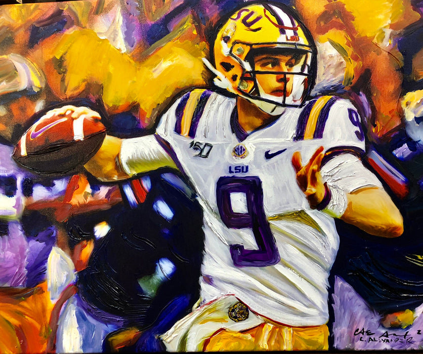 Joe Burrow Art Painting by Candice Alexander, Louisiana Artist, LSU Quarterback 9 Heisman Trophy Winner