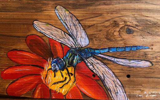meaningful dragonfly and flower art painting on wood by candice alexander Louisiana fleur de lis artist