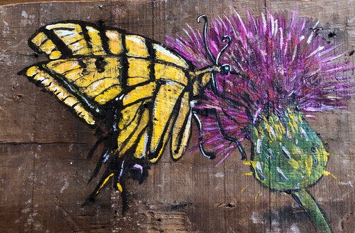 Butterfly painting on wood with flower by Candice Alexander, Louisiana Artist and Fleur de Lis Artist Insect Art