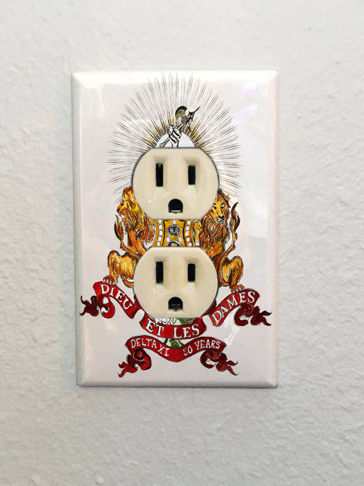 Kappa Alpha art by Candice Alexander, louisiana fleur de lis artist electrical outlet