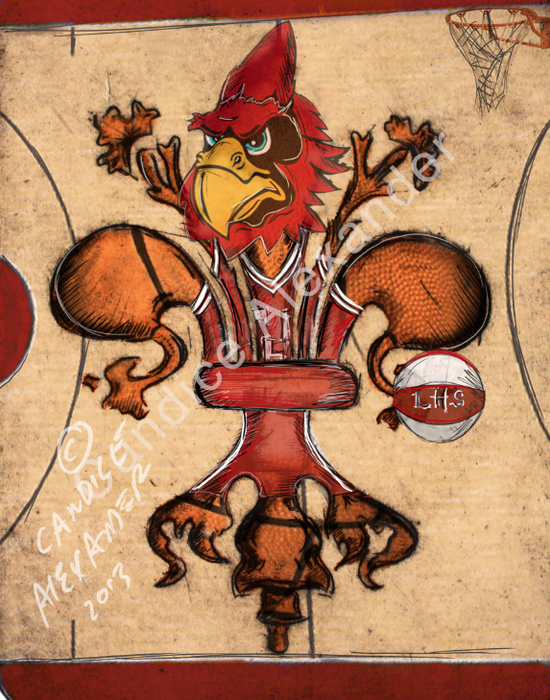 Lacassine Cardinals Basketball Fleur de Lis Art by Candice Alexander Louisiana Artist Fleur De Lis art by Candice Alexander, Louisiana Artist