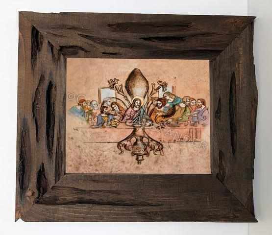 Candice Alexander Fleur De Lis Last Supper Louisiana Cypress Frame