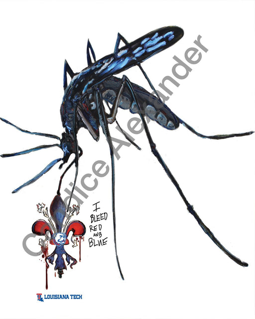 I bleed la tech mosquito art by candice Alexander Louisiana artist
