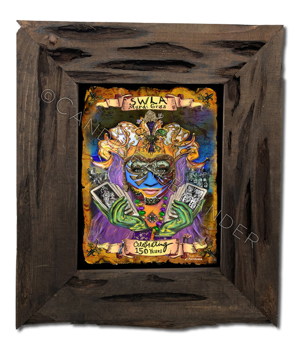 SWLA Official 2017 Mardi Gras Poster in Louisiana Cypress Frame