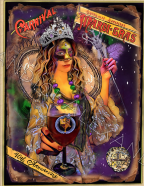 Official 2019 SWLA Mardi Gras Poster Fleur De Lis art by Candice Alexander, Louisiana Artist designed by Candice Alexander