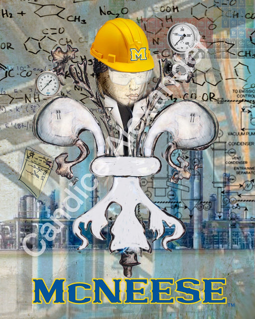 Mcneese Chemical Engineer Fleur De Lis art by Candice Alexander, Louisiana Artist