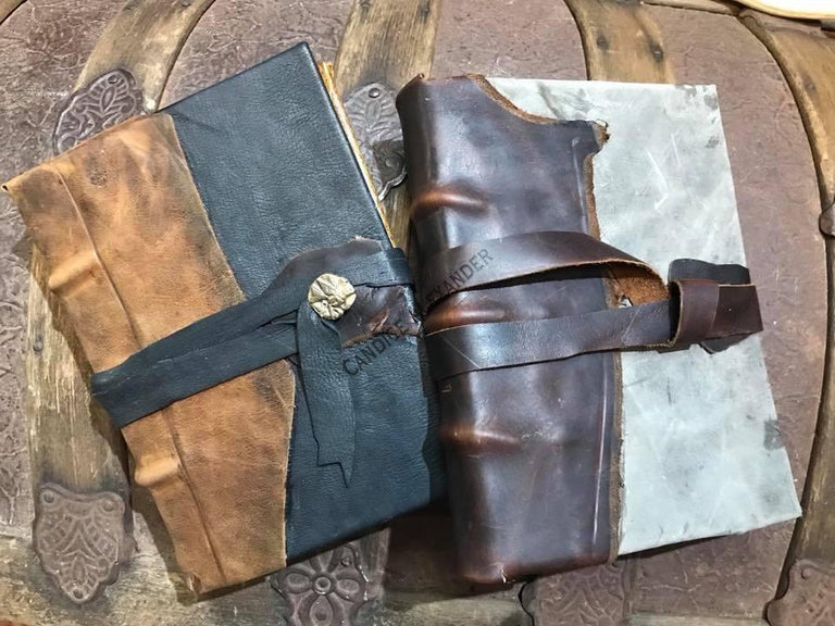 Leather Journals made by Candice Alexander Louisiana and Fleur de LIs artist