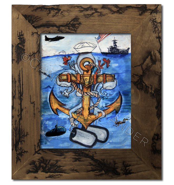 Navy Fleur De Lis Art by Candice Alexander in an Electrocuted Frame
