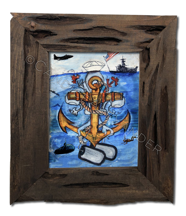 Navy Fleur De Lis design by Candice Alexander in a Louisiana Cypress Frame