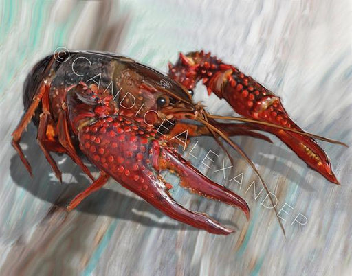 Candice Alexander New Crawfish Design Fleur De Lis art by Candice Alexander, Louisiana Artist
