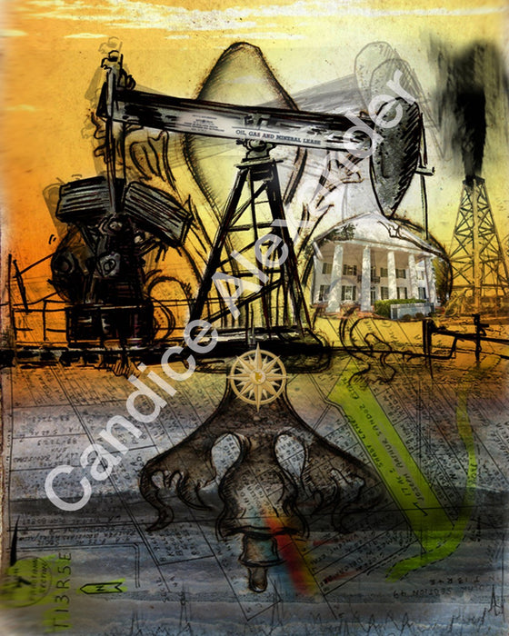 Oil Well Two Fleur De Lis art by Candice Alexander, Louisiana Artist Fleur De Lis art by Candice Alexander, Louisiana Artist Fleur De Lis Art by Candice Alexander Fleur de Lis Artist