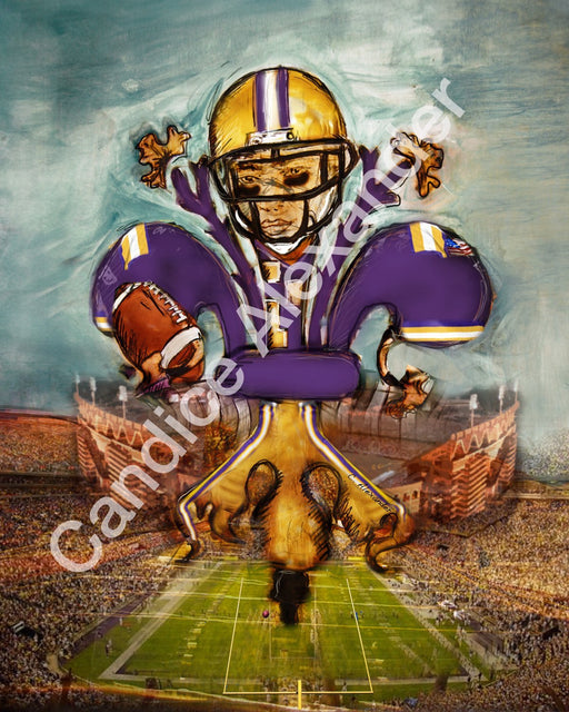 LSU Purple and Gold Football Fleur De Lis Design by Candice Alexander