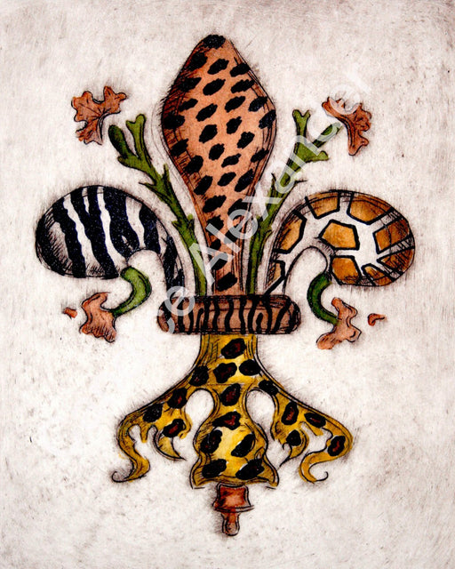 Safari Fleur De Lis art by Candice Alexander, Louisiana Artist