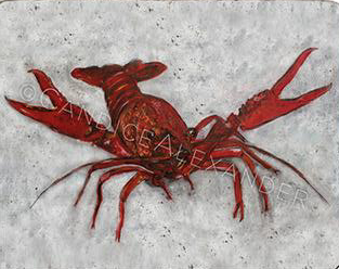 Candice Alexander Old Crawfish Design Fleur De Lis art by Candice Alexander, Louisiana Artist