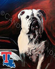 Candice Alexander Louisiana Tech Bull Dog Design Fleur De Lis art by Candice Alexander, Louisiana Artist