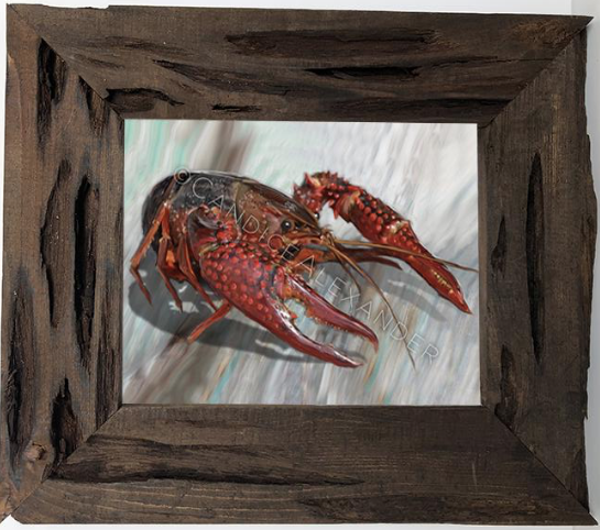 Candice Alexander, Fleur de lis artist, new crawfish design in Louisiana Cypress Frame