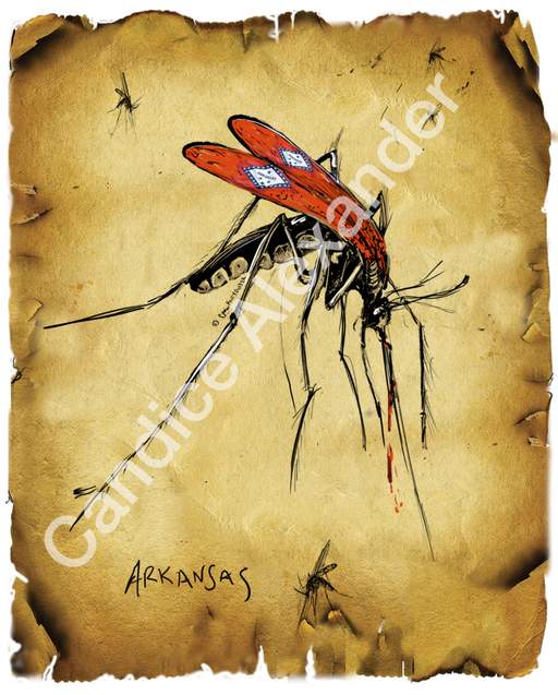 "Arkansas Mosquito ""I Bleed"" Series by Candice Alexander, Fleur de Lis Art by Candice Alexander Louisiana Artist"