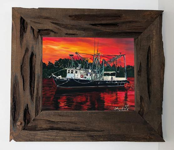 Candice Alexander Shrimp Boat Louisiana Cypress Frame