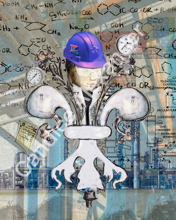 Tech Chemical Engineer Fleur De Lis art by Candice Alexander, Louisiana Artist Fleur De Lis by Candice Alexander Fleur De Lis Artist