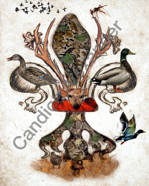 The Hunted with Ducks fleur de lis by Candice Alexander Fleur De Lis art by Candice Alexander, Louisiana Artist