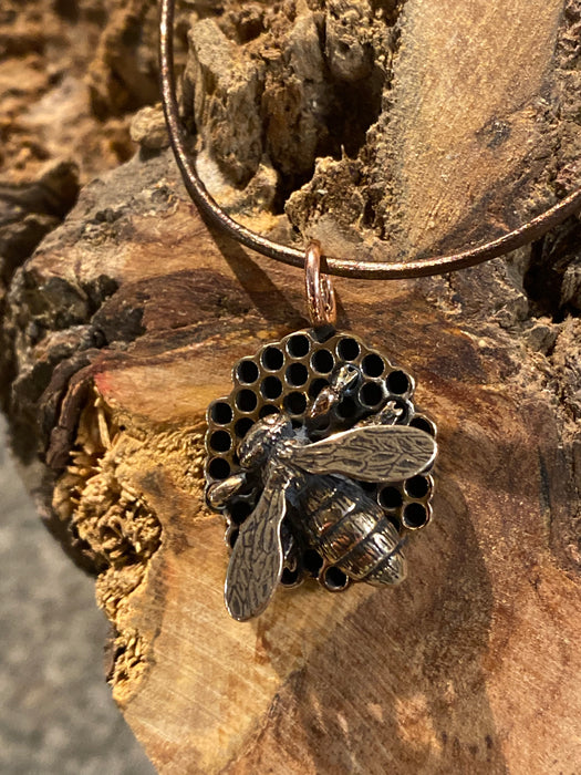 Original Bee Honeycomb Casting Necklace