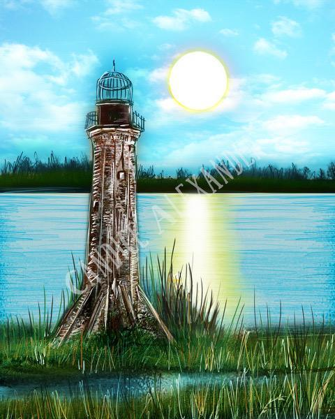 Candice Alexander Sabine Lighthouse Design Fleur De Lis art by Candice Alexander, Louisiana Artist