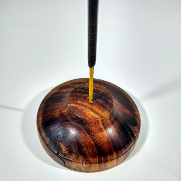 Hand Turned Incense Holder Minimalist Pecan