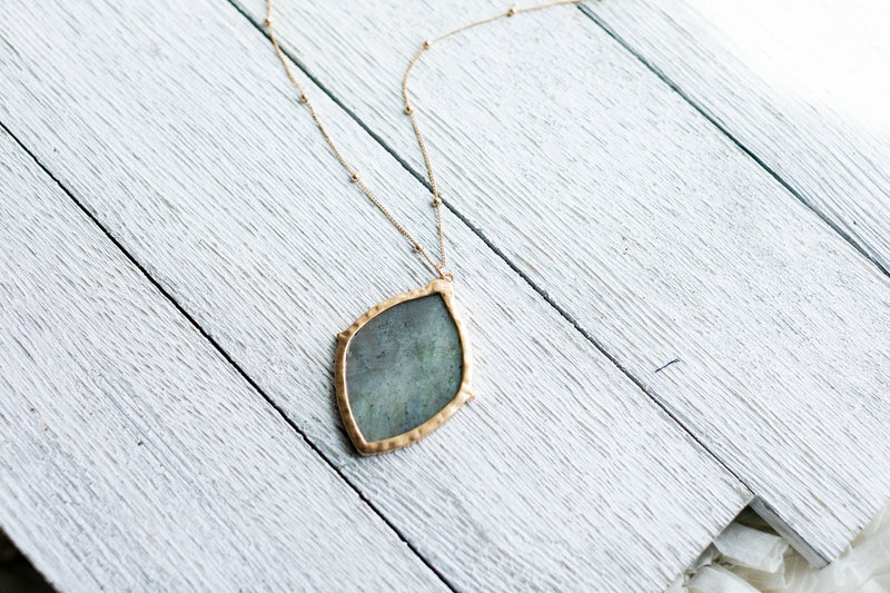 Long Grey Marble Necklace