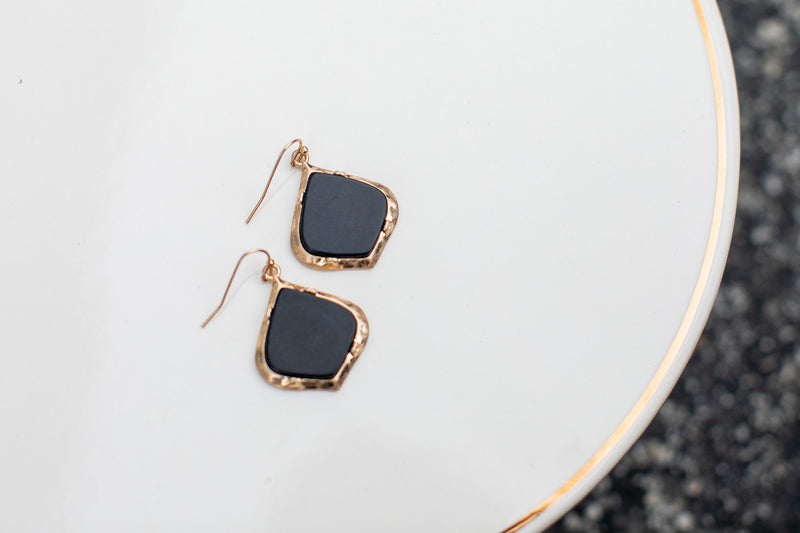 Black Matte with Gold Earrings