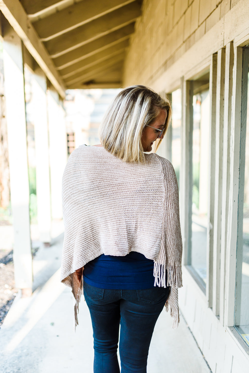Chenille Knit Poncho with Fringe