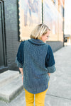 Patch Knit Poncho with Cowl Neck