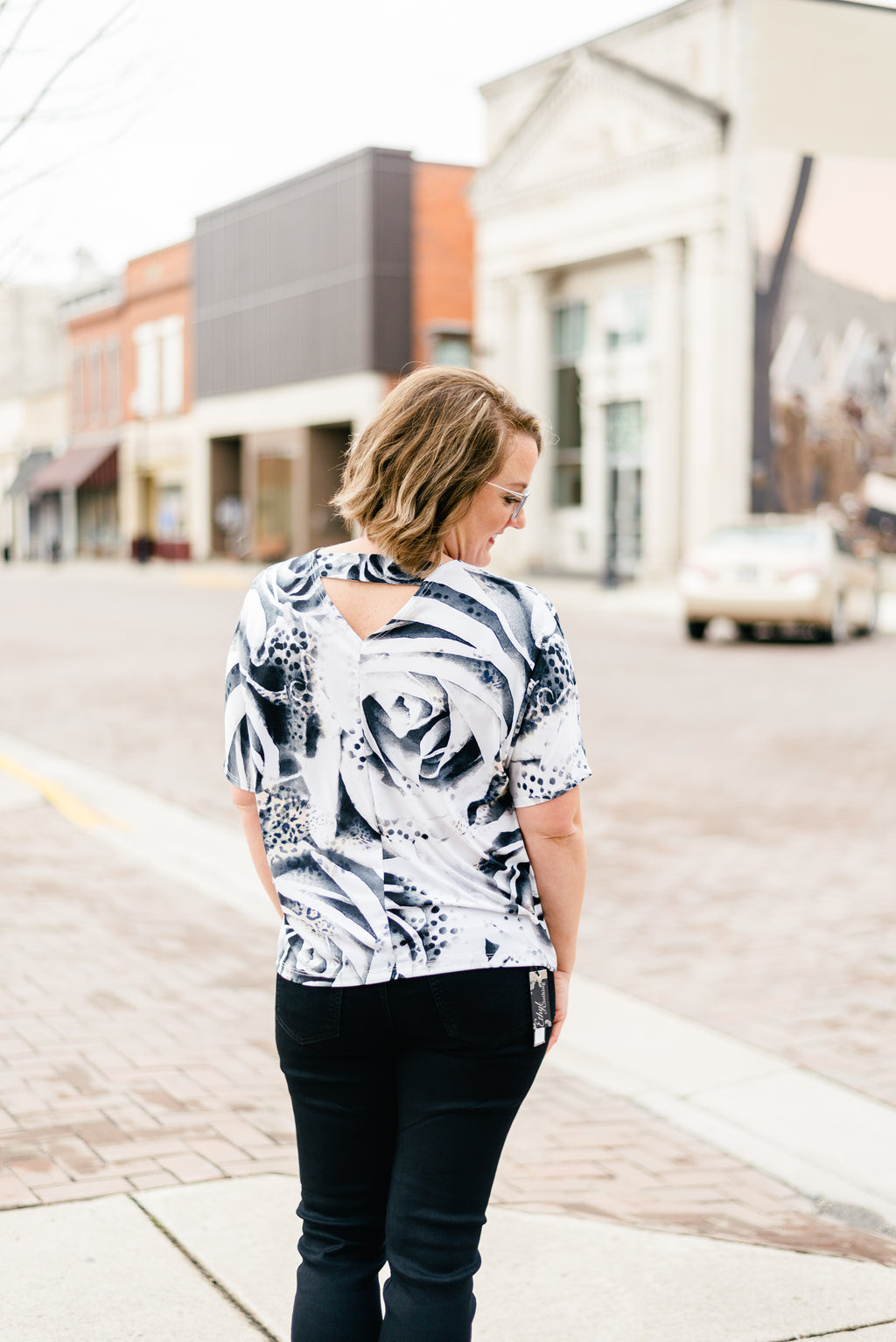 Rose Print Top with V Cut Out