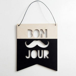 Nordic Style Wooden Hollow Letter Design Wall Hanging