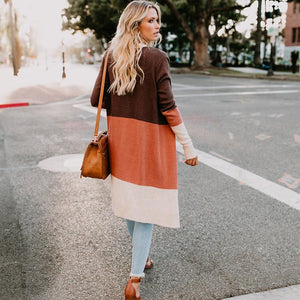 Long Sleeve Color Block Open Stitch Cardigan