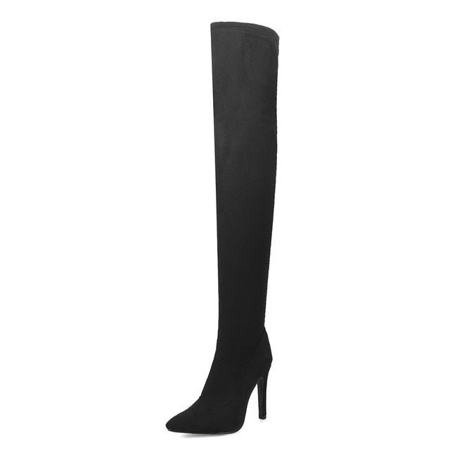 Over the knee boots thin high heels